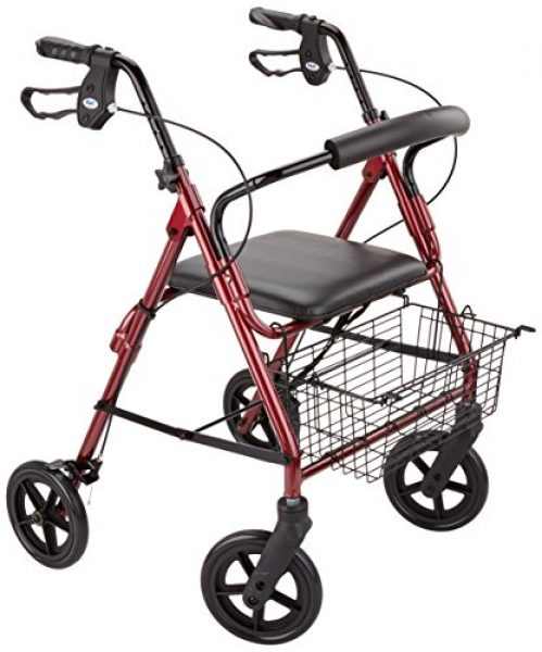Homecraft Wheeled Rollator Walker with Cable Brakes - Red